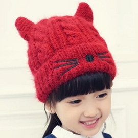 Ericdress Little Cat Design Knitted Hat for Baby