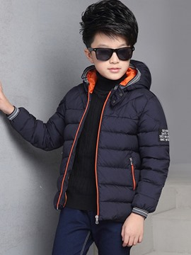 Ericdress Hooded Solid Color Boys Cotton-padded Coat