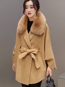 Ericdress Loose Belt Faux Fur Collar Plain Coat