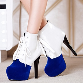 Ericdress Patchwork Platform Lace up High Heel Boots