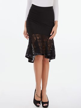 Ericdress Solid Color Lace Column Skirt