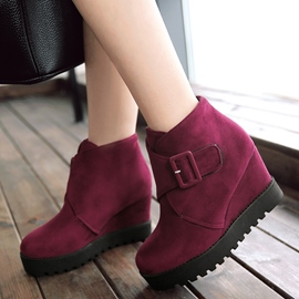 Ericdress Charming Suede Buckles Wedge Heel Ankle Boots