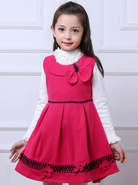 Ericdress Plain Bow Pleated Wool Girls Dress