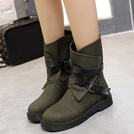 Ericdress Chic Buckles Round Toe Ankle Boots