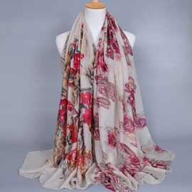 Ericdress Elegant Large Flowers Printed Women's Voile Scarf