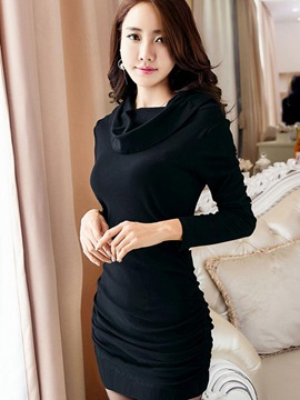 Ericdress Heap Collar Pleated Solid Color Sheath Dress