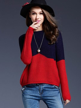 Ericdress Color Block Casual Pullover Knitwear
