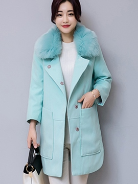 Ericdress Straight Pocket Fleece Coat