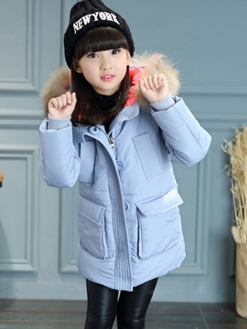 Ericdress Plain Big Pocket Zipper Casual Hooded Girls Outerwear