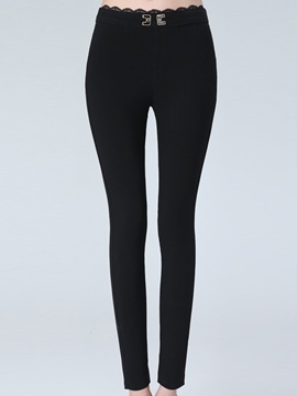 Ericdress Solid Color Hollow Cotton Leggings Pants