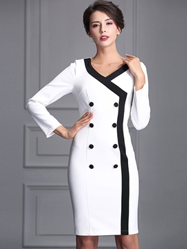 Ericdress Color Block Double-Breasted Cross Bodycon Dress