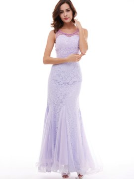 Ericdress Sheath/Column Beaded Scoop Sleeveless Lace Evening Dress