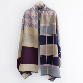 Ericdress Colorful Plaid Thicken Shawl Scarf
