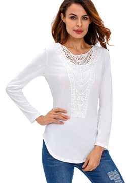 Ericdress Lace Panel Plain Blouse