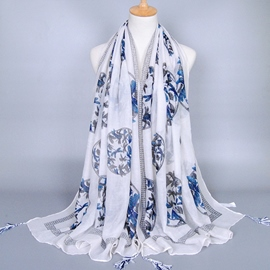 Ericdress Dragonfly Printed White Cotton Scarf