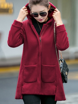 Ericdress Casual Loose Solid Color Hooded Hoodie