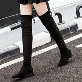 Ericdress Suede Point Toe Thigh High Boots