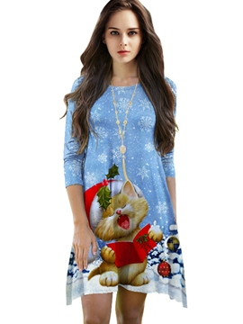 Ericdress Christmas Print Asymmetrical Casual Dress