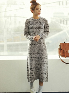 Ericdress Simple Loose Round Collar Straight Sweater Dress
