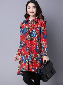 Ericdress Printed Lapel Loose Blouse