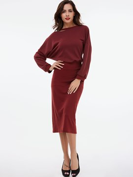 Ericdress Hole Round Neck Batwing Sleeve Sheath Dress