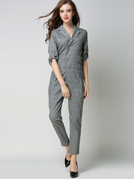 Ericdress Plaid Print Pocket Slim Jumpsuits