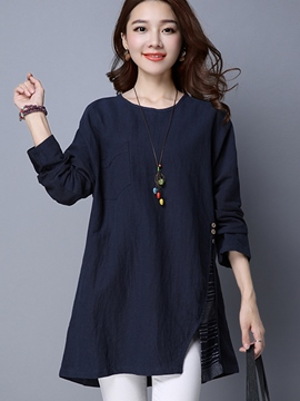 Ericdress Oblique Button Loose T-Shirt