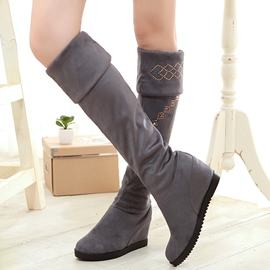 Ericdress Elegant Suede Square Heel Thigh High Boots