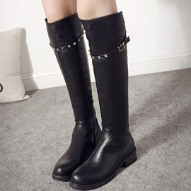 Ericdress Rivets Decorated Side Zip Knight Boots