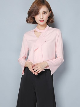 Ericdress Falbala Trim Long Sleeve Blouse