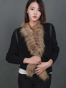 Ericdress Faux Fur Trim Knitwear