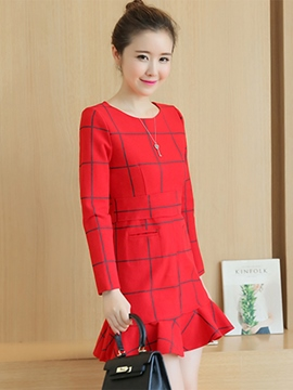 Ericdress Plaid Round Collar Falbala Patchwork Pocket Casual Dress