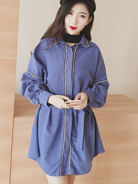 Ericdress Loose Lace-Up Casual Trench Coat