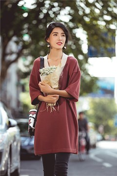 Ericdress V-Neck Patchwork Split Loose Casual Dress