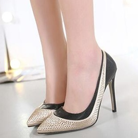 Ericdress Graceful Patchwork Rhinestone Point Toe Pumps