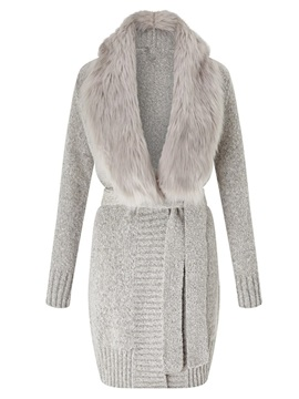 Ericdress Faux Fur Collar Belt Knitwear