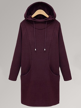 Ericdress Solid Color Pocket Lace-Up Hoodie
