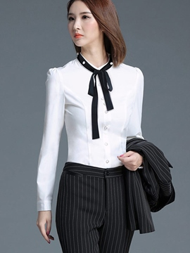 Ericdress Tie Bow Front OL Blouse