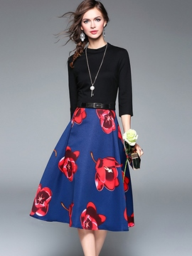 Ericdress Floral Print Belt Patchwork Casual Dress