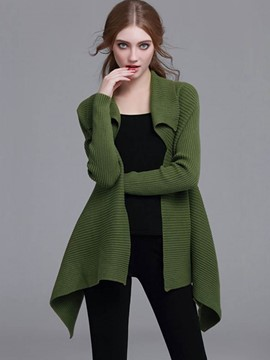 Ericdress Army Green Asymmetric Knitwear