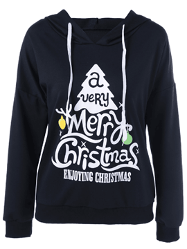 Ericdress Casual Christmas Letters Printed Hoodie