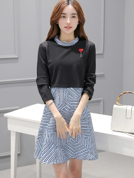 Ericdress Lapel Patchwork Embroidery Color Block Casual Dress