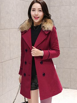 Ericdress Double-Breasted Slim Faux Fur Collar Coat