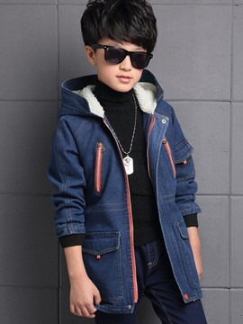 Ericdress Hooded Zipper Denim Boys Coat