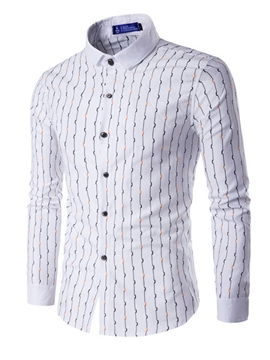 Ericdress Vertical Stripe Long Sleeve Slim Men's Shirt