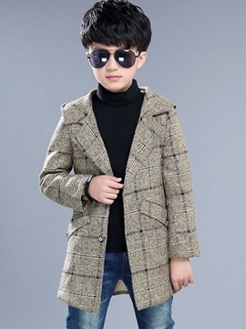 Ericdress Plaid Hooded Wool Boys Trench Coat