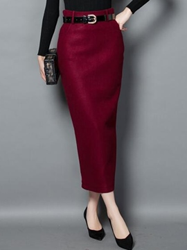 Ericdress Solid Color High-Waist Belt Column Skirt