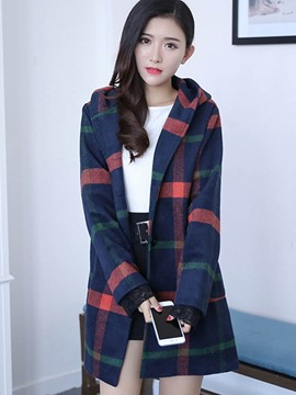 Ericdress Straight Plaid Hooded Coat