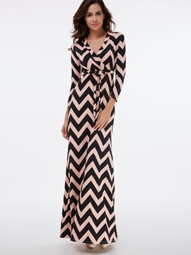 Ericdress Wave Cut Strip Patchwork Belt Maxi Dress