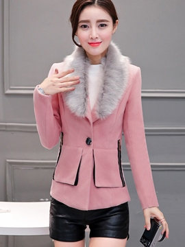 Ericdress Slim Faux Fur Patchwork Coat